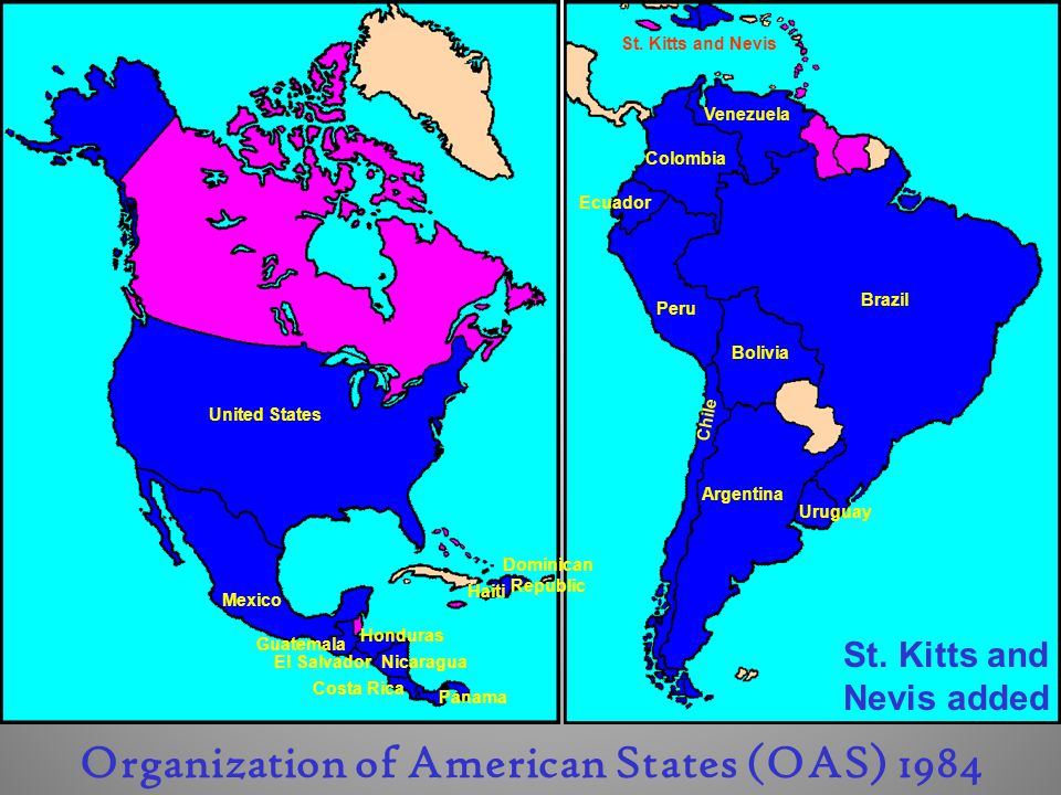 St. Kitts and Nevis added Organization of American States (OAS) 1984