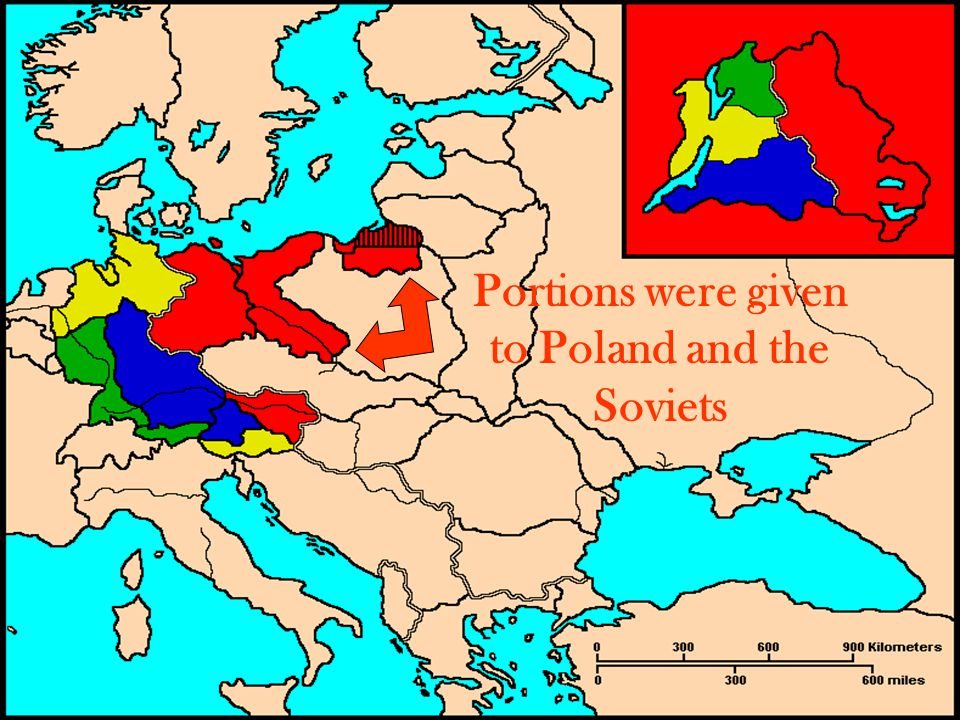 Portions were given to Poland and the Soviets