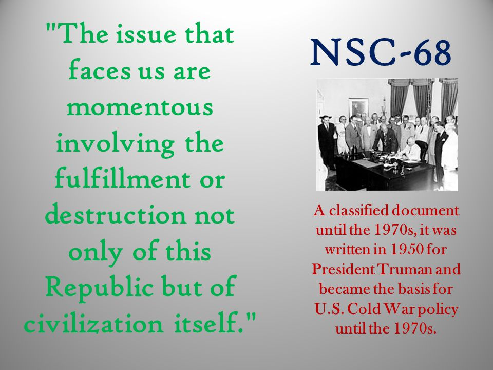 The issue that faces us are momentous involving the fulfillment or destruction not only of this Republic but of civilization itself.