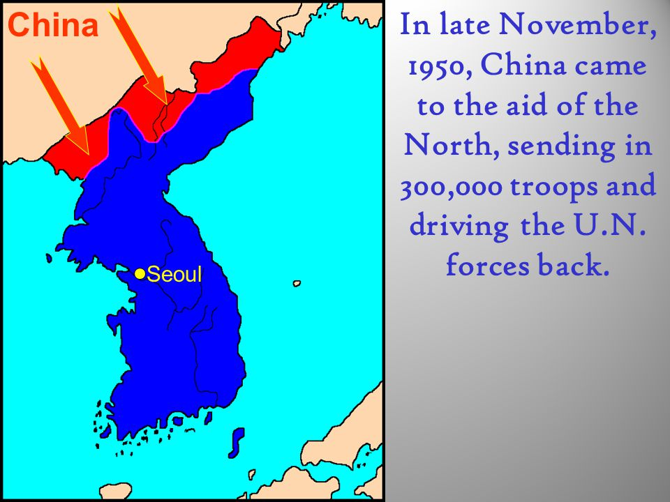 China In late November, 1950, China came to the aid of the North, sending in 300,000 troops and driving the U.N. forces back.