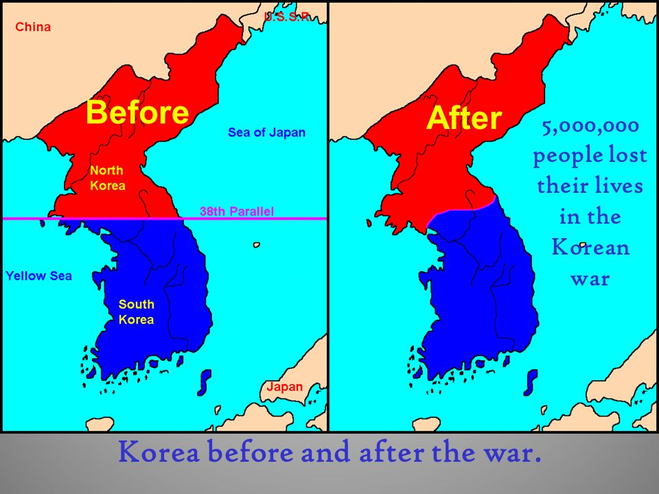 Korea before and after the war.