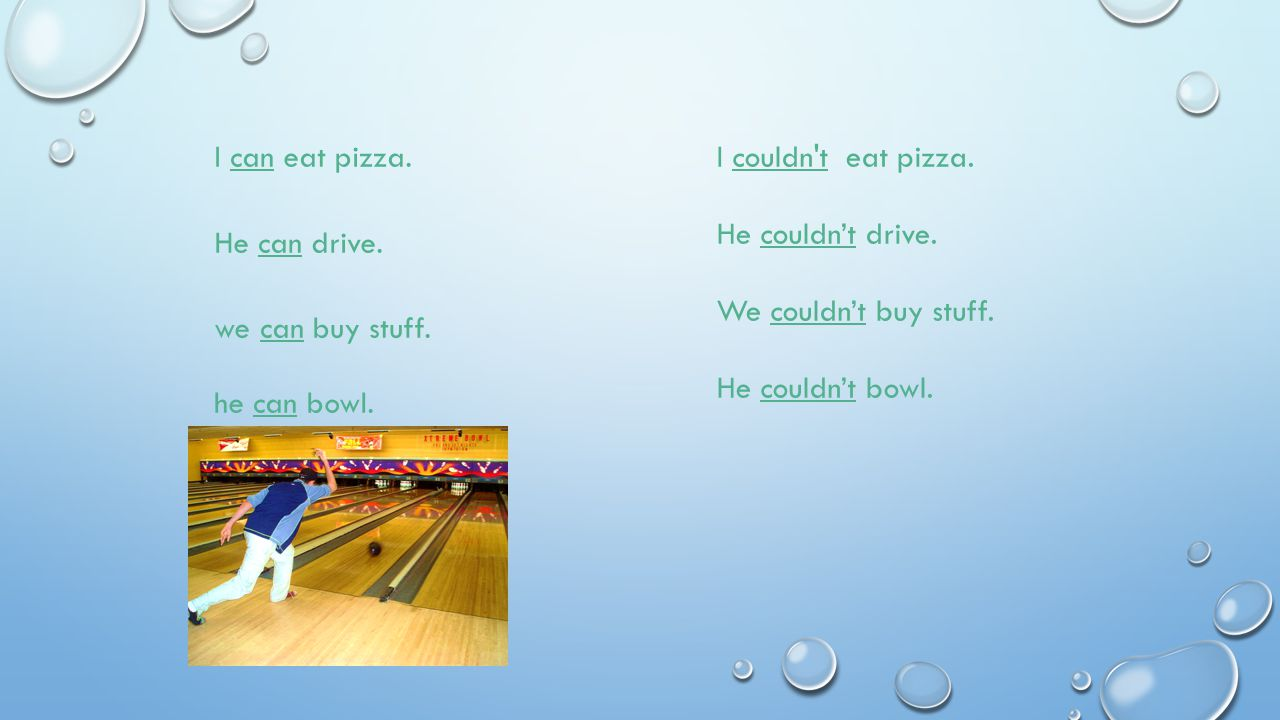 I can eat pizza. I couldn t eat pizza. He couldn't drive. We couldn't buy stuff. He couldn't bowl.