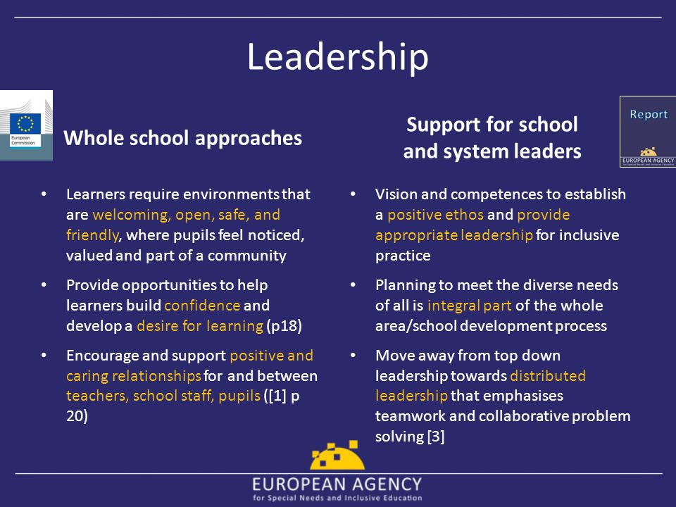 Whole school approaches Support for school and system leaders