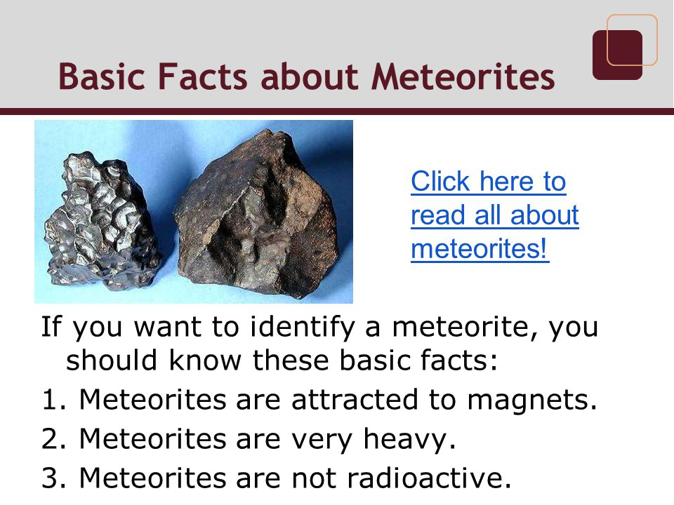 Basic Facts about Meteorites