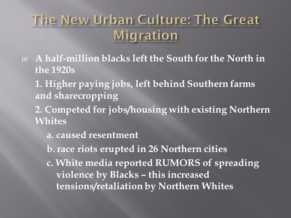 The New Urban Culture: The Great Migration