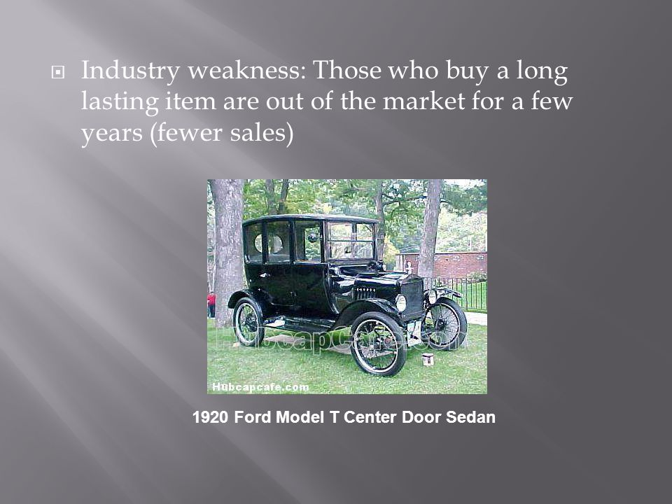Industry weakness: Those who buy a long lasting item are out of the market for a few years (fewer sales)