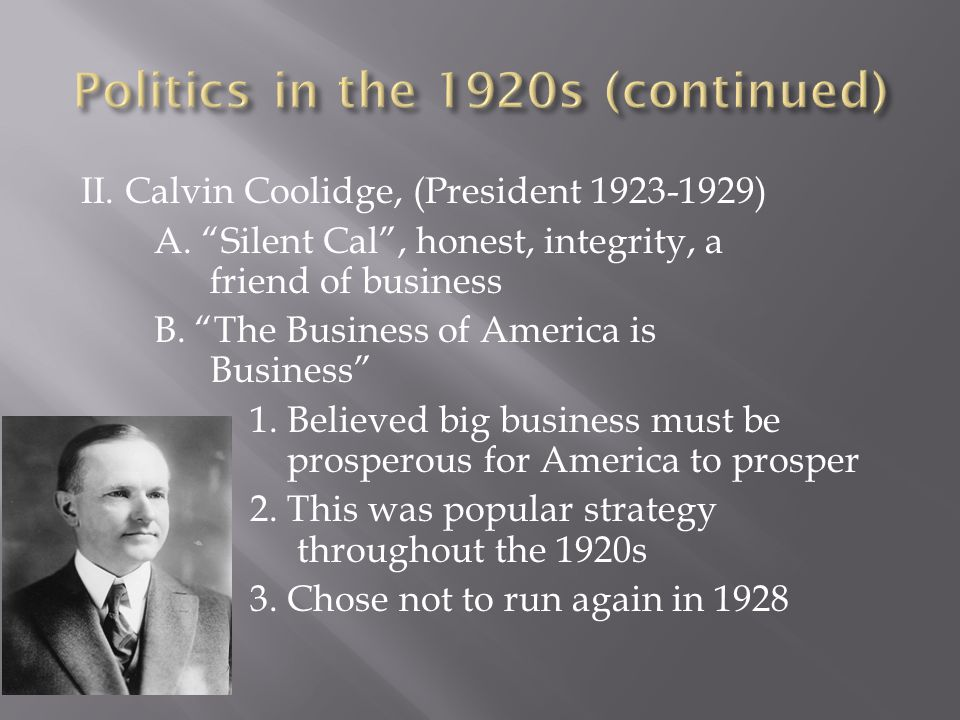Politics in the 1920s (continued)