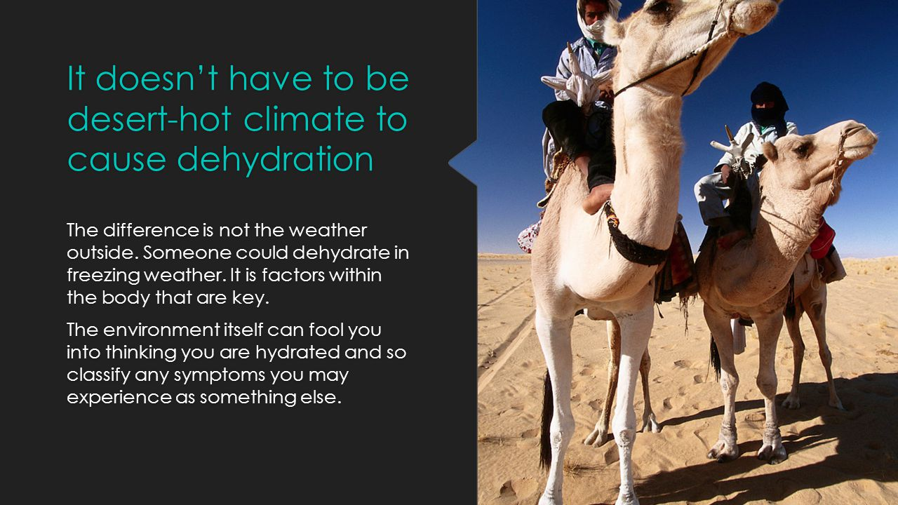 It doesn't have to be desert-hot climate to cause dehydration