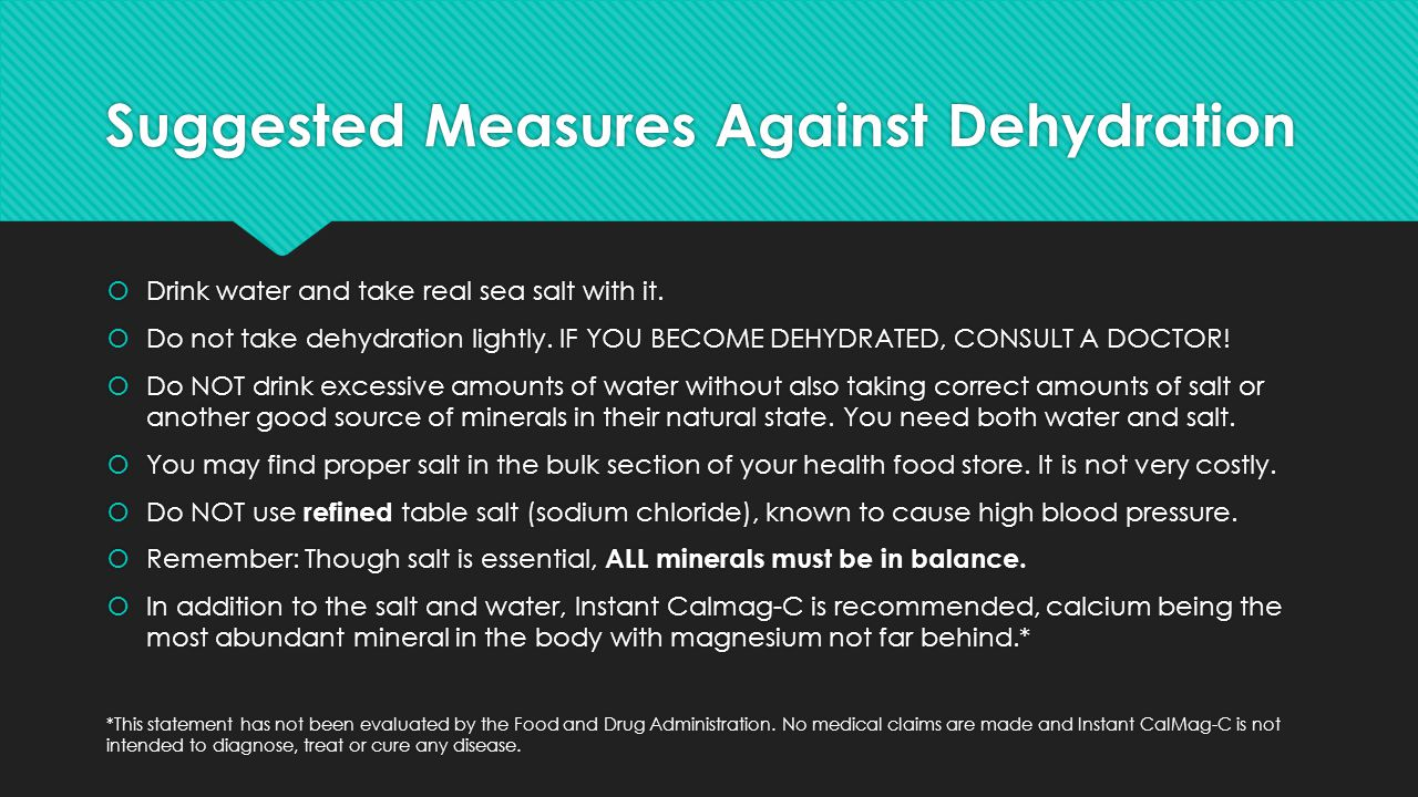 Suggested Measures Against Dehydration