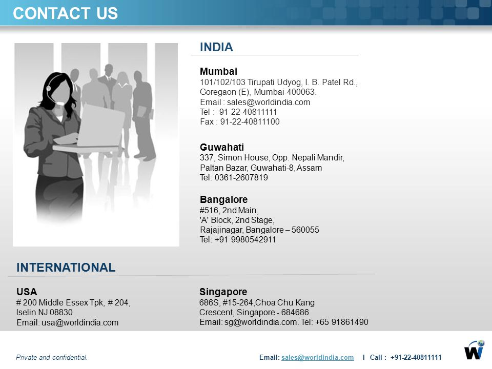 CONTACT US INDIA INTERNATIONAL Mumbai Guwahati Bangalore Singapore USA