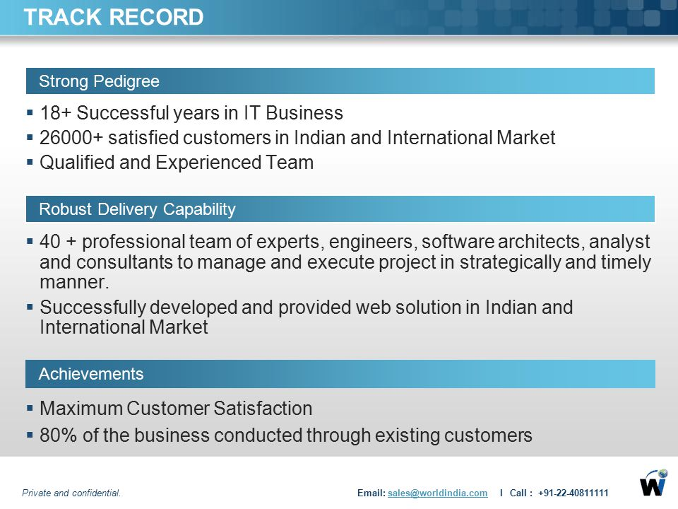 TRACK RECORD 18+ Successful years in IT Business