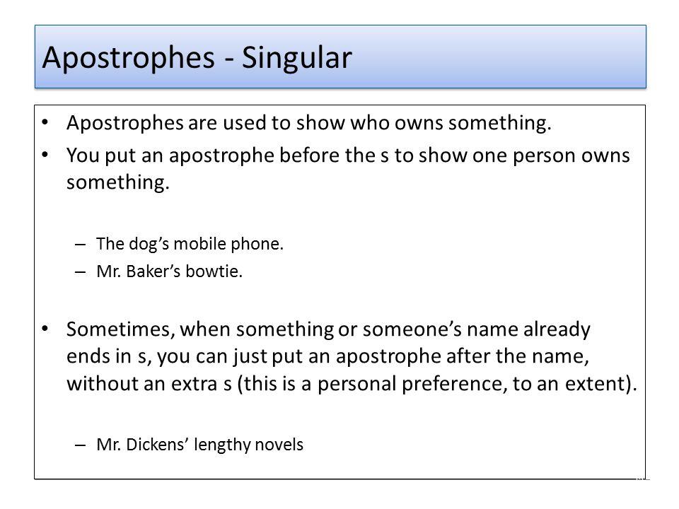 Apostrophes - Singular