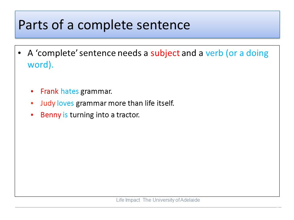 Parts of a complete sentence