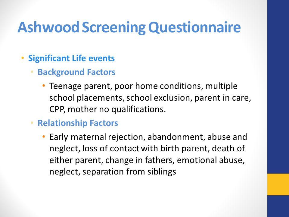 Ashwood Screening Questionnaire