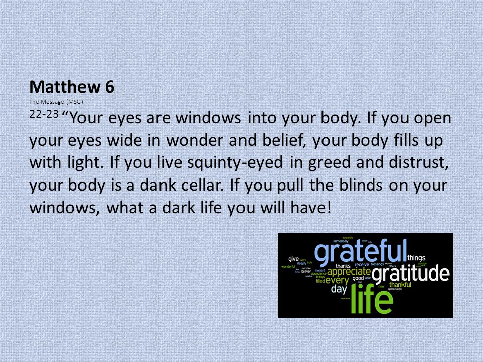 Matthew 6 The Message (MSG)