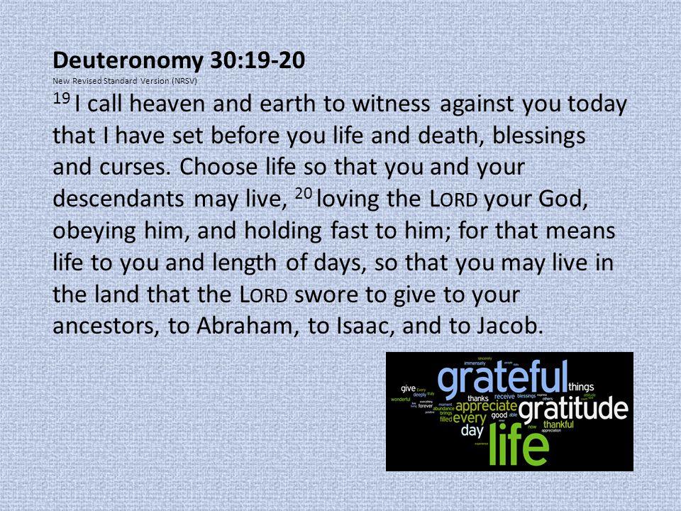 Deuteronomy 30:19-20 New Revised Standard Version (NRSV)