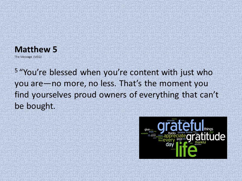 Matthew 5 The Message (MSG)