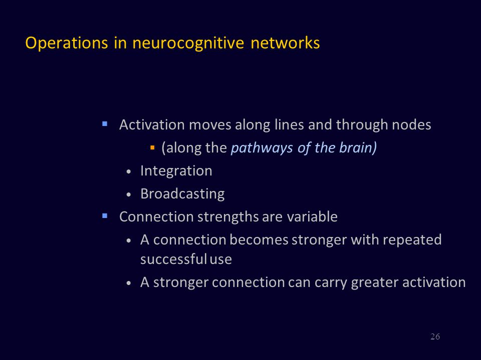 Operations in neurocognitive networks
