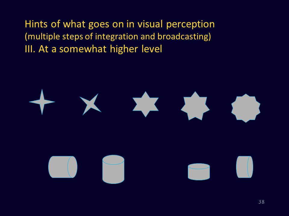 Hints of what goes on in visual perception (multiple steps of integration and broadcasting) III.