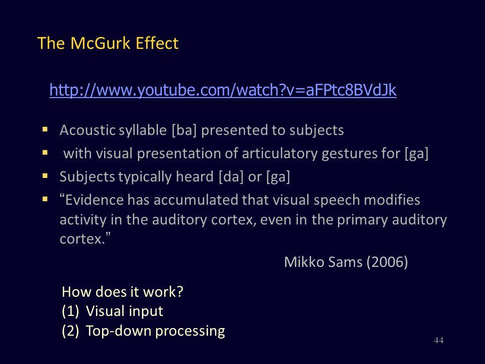 The McGurk Effect http://www.youtube.com/watch v=aFPtc8BVdJk