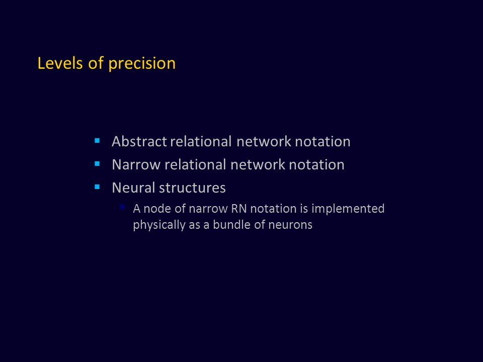 Levels of precision Abstract relational network notation