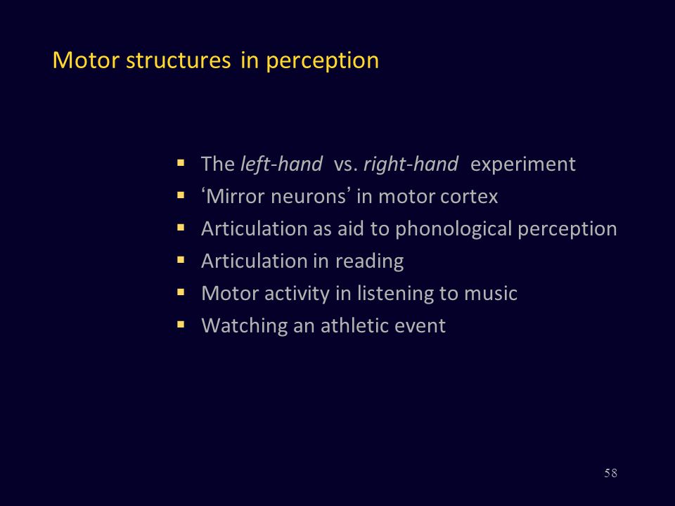 Motor structures in perception