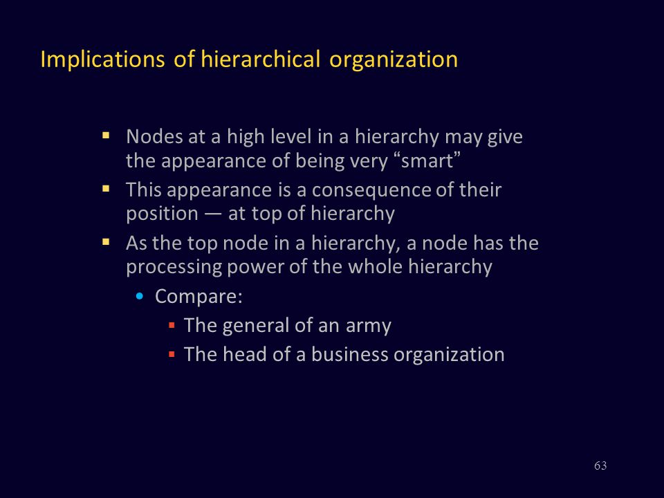 Implications of hierarchical organization