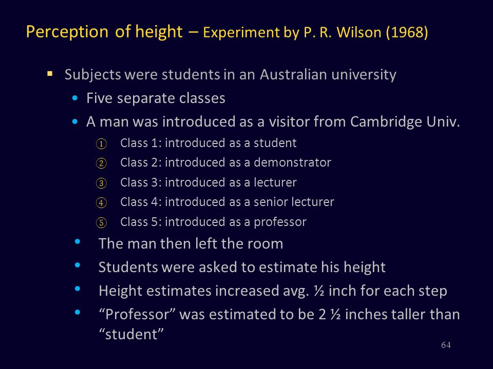 Perception of height – Experiment by P. R. Wilson (1968)