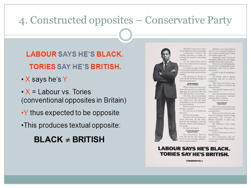 4. Constructed opposites – Conservative Party