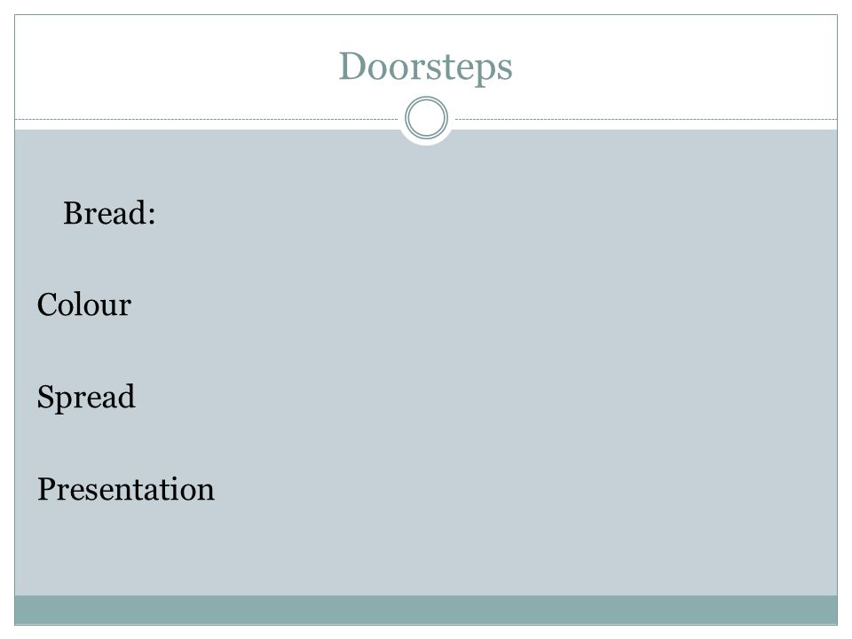 Doorsteps Bread: Colour Spread Presentation