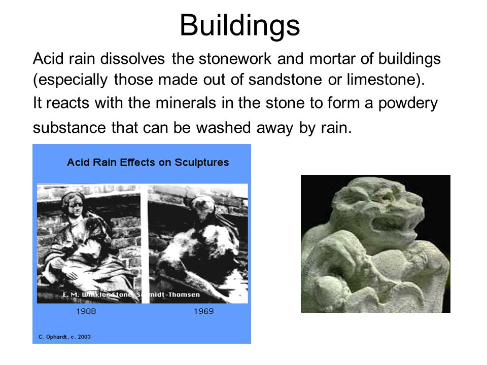Buildings Acid rain dissolves the stonework and mortar of buildings (especially those made out of sandstone or limestone).
