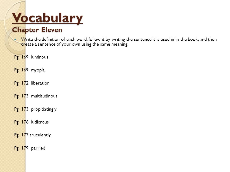Vocabulary Chapter Eleven