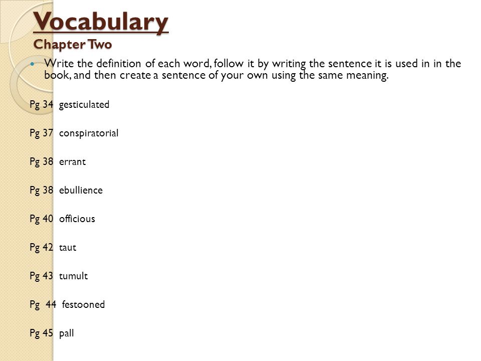 Vocabulary Chapter Two