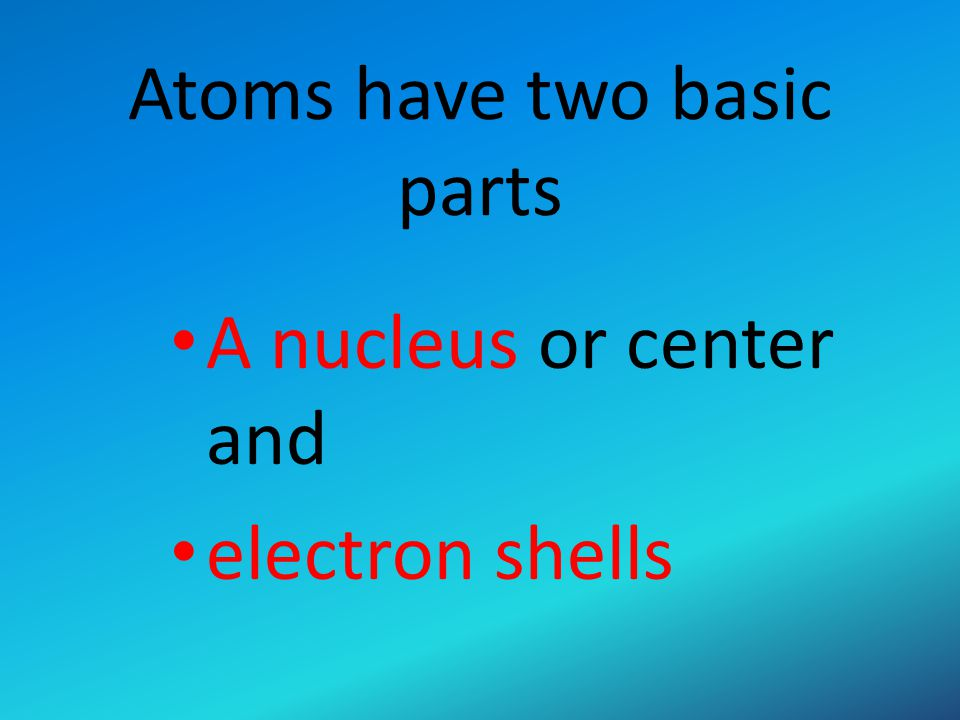 Atoms have two basic parts