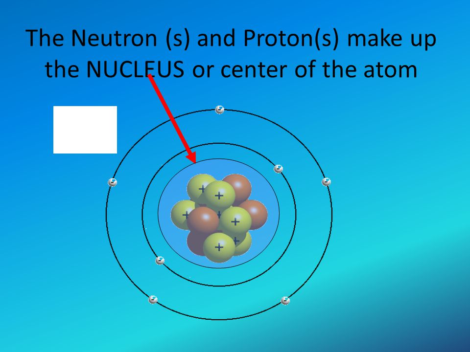 The Neutron (s) and Proton(s) make up the NUCLEUS or center of the atom