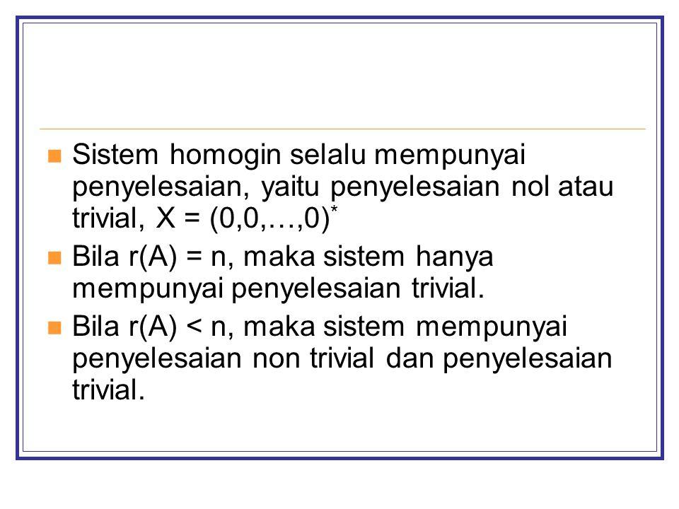 Sistem homogin selalu mempunyai penyelesaian, yaitu penyelesaian nol atau trivial, X = (0,0,…,0)*
