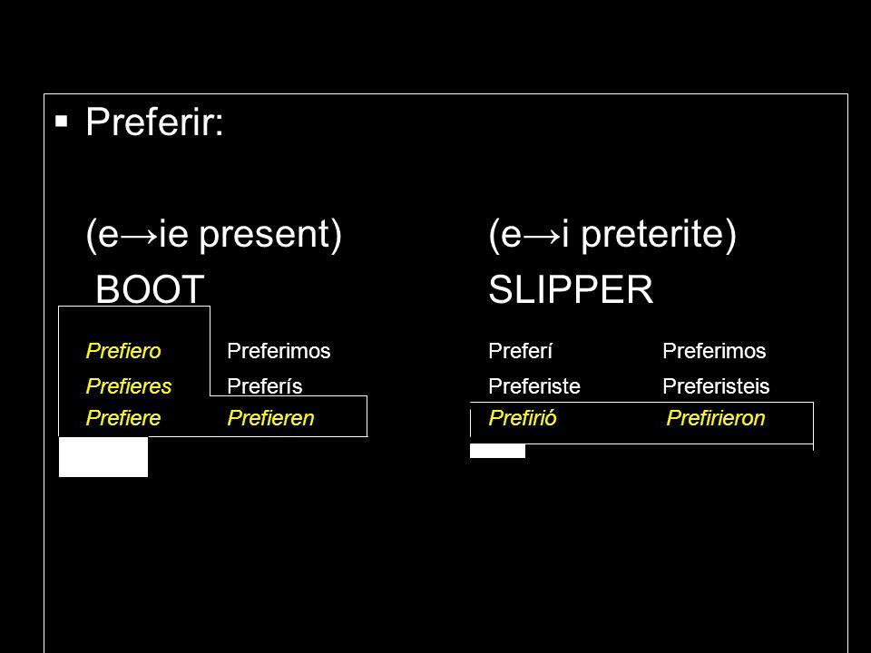 (e→ie present) (e→i preterite) BOOT SLIPPER