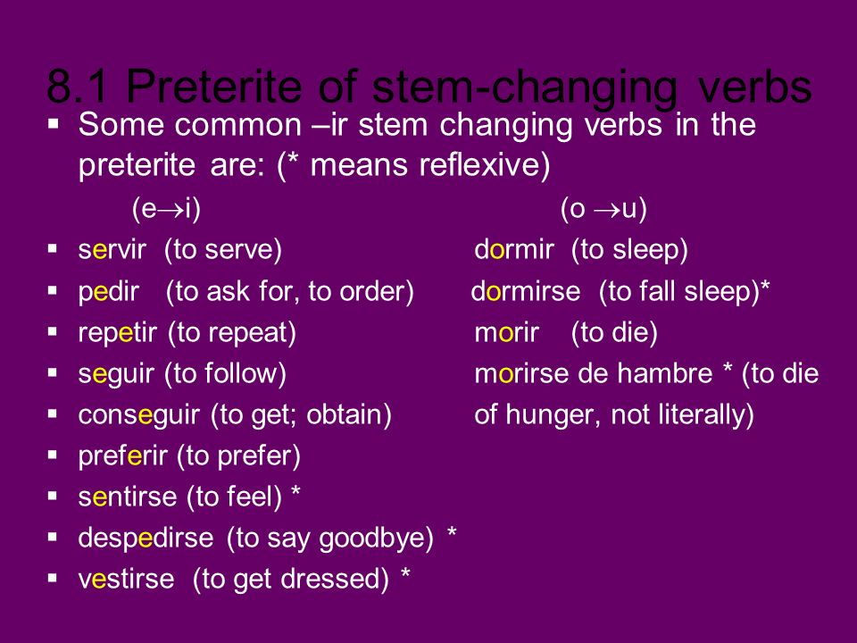 Some common –ir stem changing verbs in the preterite are: (