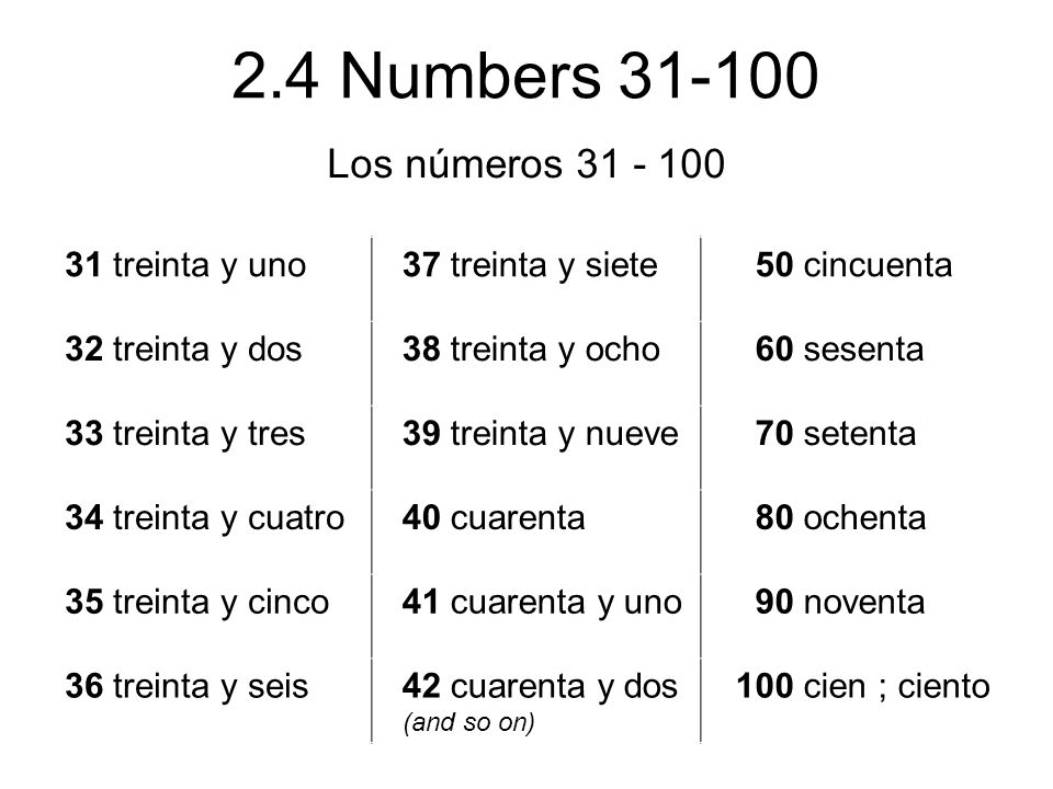 Los números 31 - 100 31 treinta y uno 37 treinta y siete 50 cincuenta