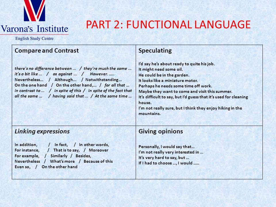 PART 2: FUNCTIONAL LANGUAGE