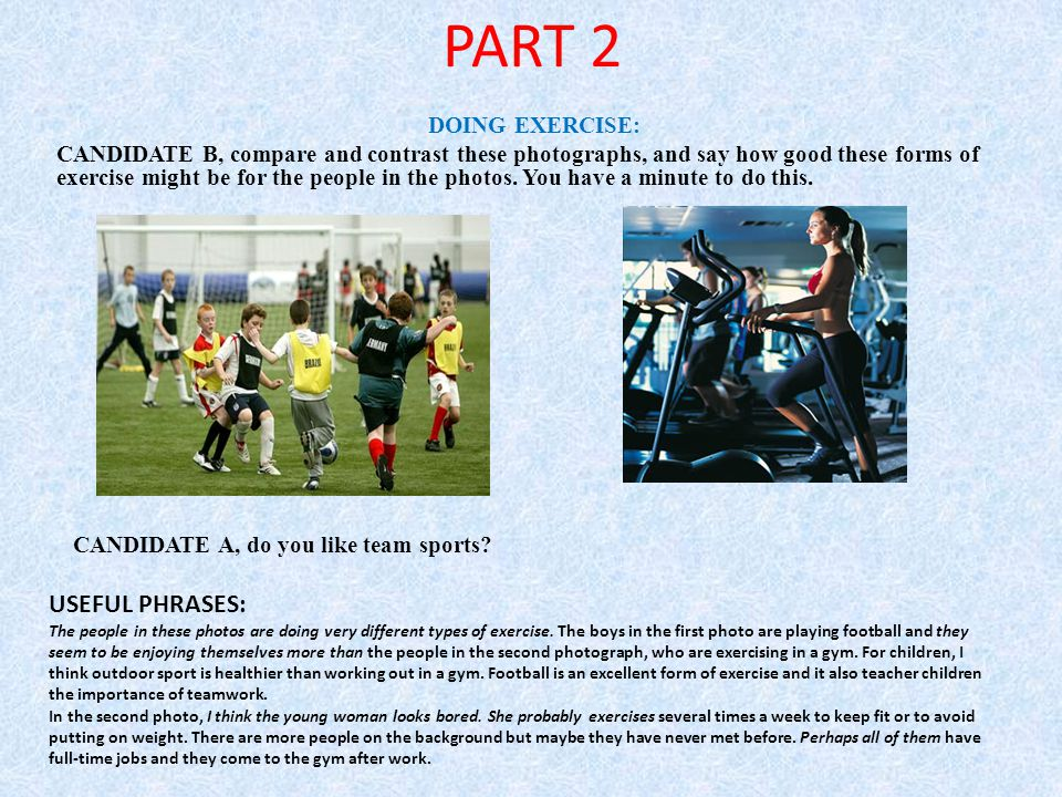 PART 2 USEFUL PHRASES: DOING EXERCISE:
