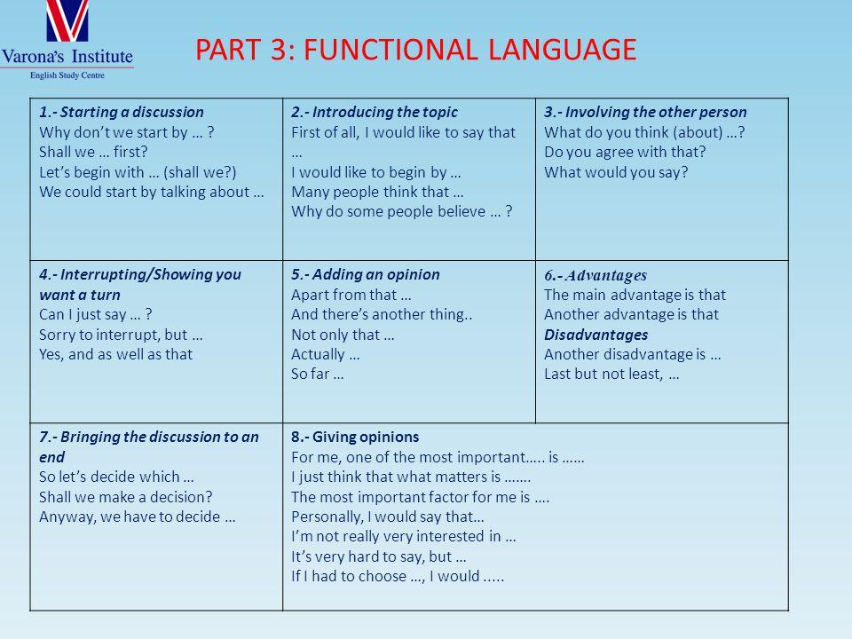 PART 3: FUNCTIONAL LANGUAGE