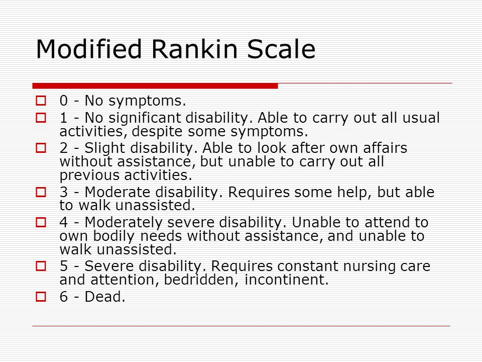 Modified Rankin Scale 0 - No symptoms.