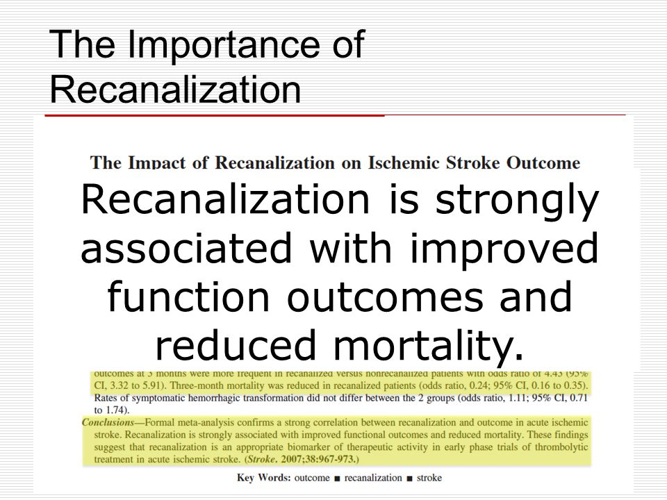 The Importance of Recanalization