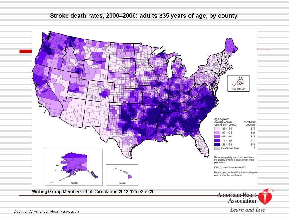 Stroke death rates, 2000–2006: adults ≥35 years of age, by county.
