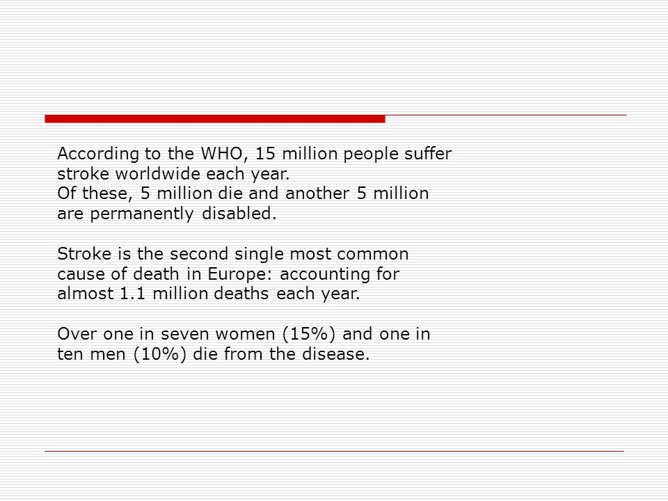 According to the WHO, 15 million people suffer stroke worldwide each year.