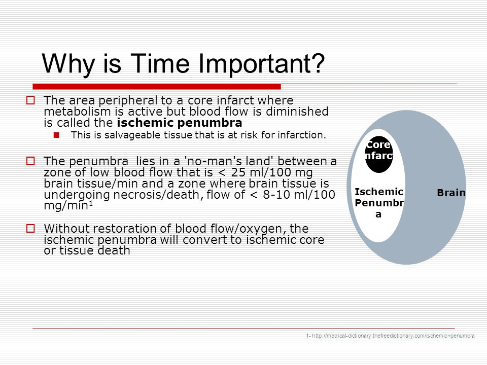 Why is Time Important The area peripheral to a core infarct where metabolism is active but blood flow is diminished is called the ischemic penumbra.