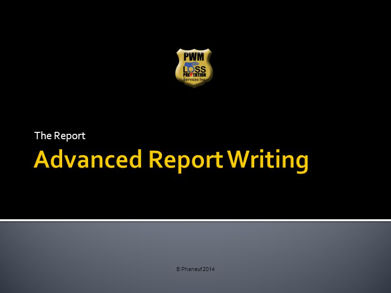 Advanced Report Writing