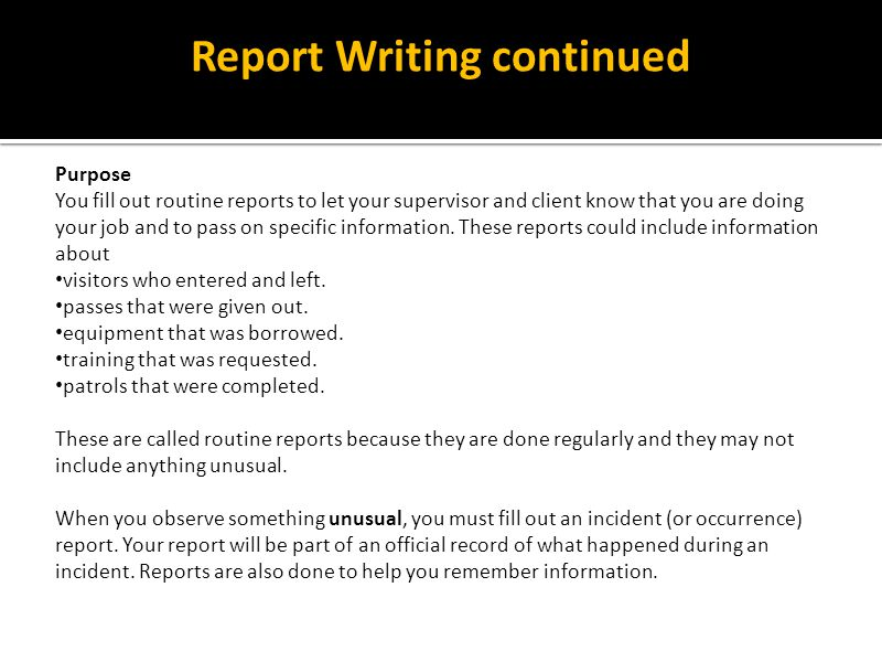 Report Writing continued