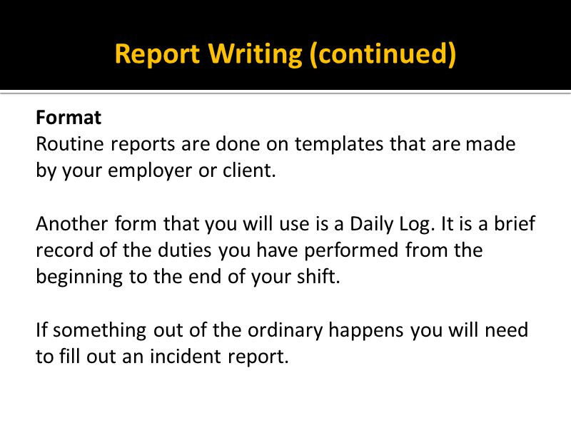 Report Writing (continued)